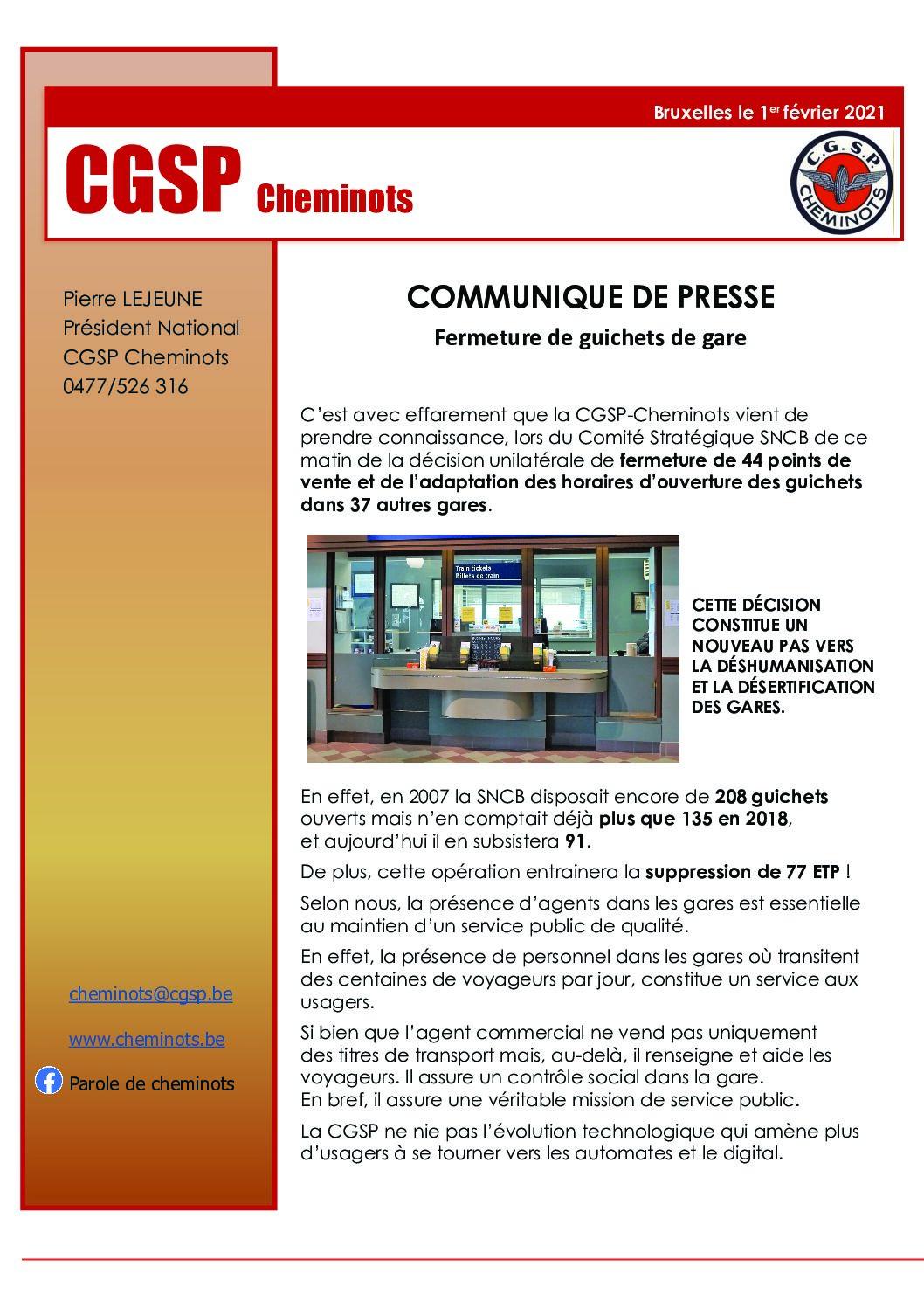 COMMUNIQUE DE PRESSE – Fermeture de guichets de gare