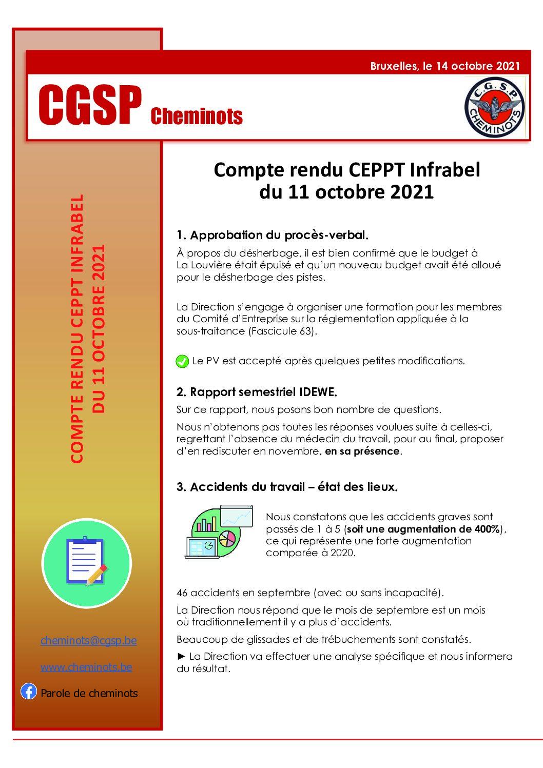 Compte rendu CEPPT Infrabel 11 octobre 2021