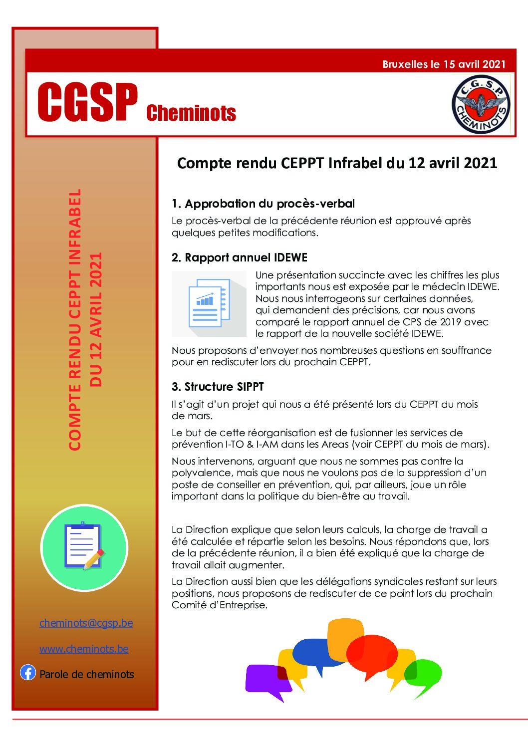 Compte-rendu CEPPT Infrabel 12 avril 2021