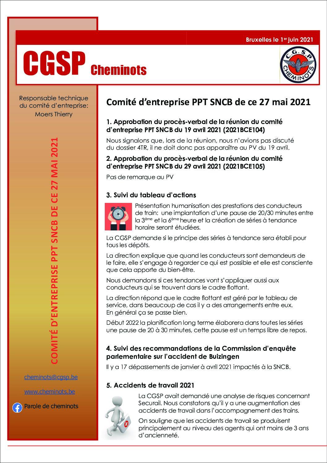 Compte-rendu CEPPT SNCB 27 mai 2021