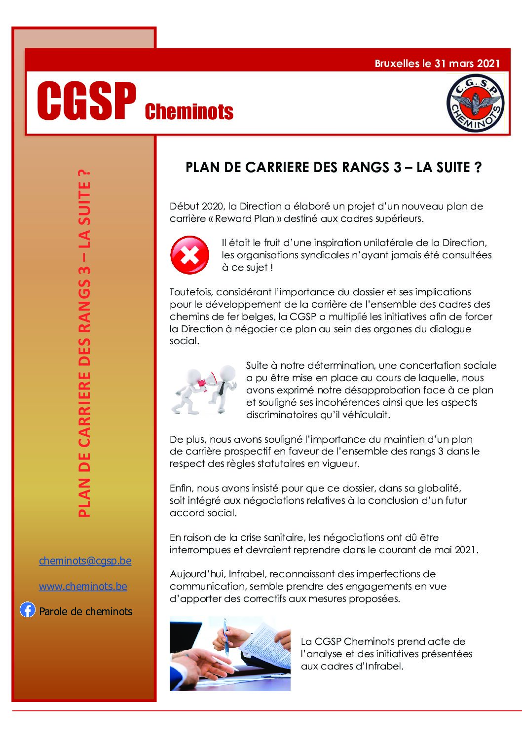 PLAN DE CARRIERE DES RANGS 3 LA SUITE – 31 mars 2021