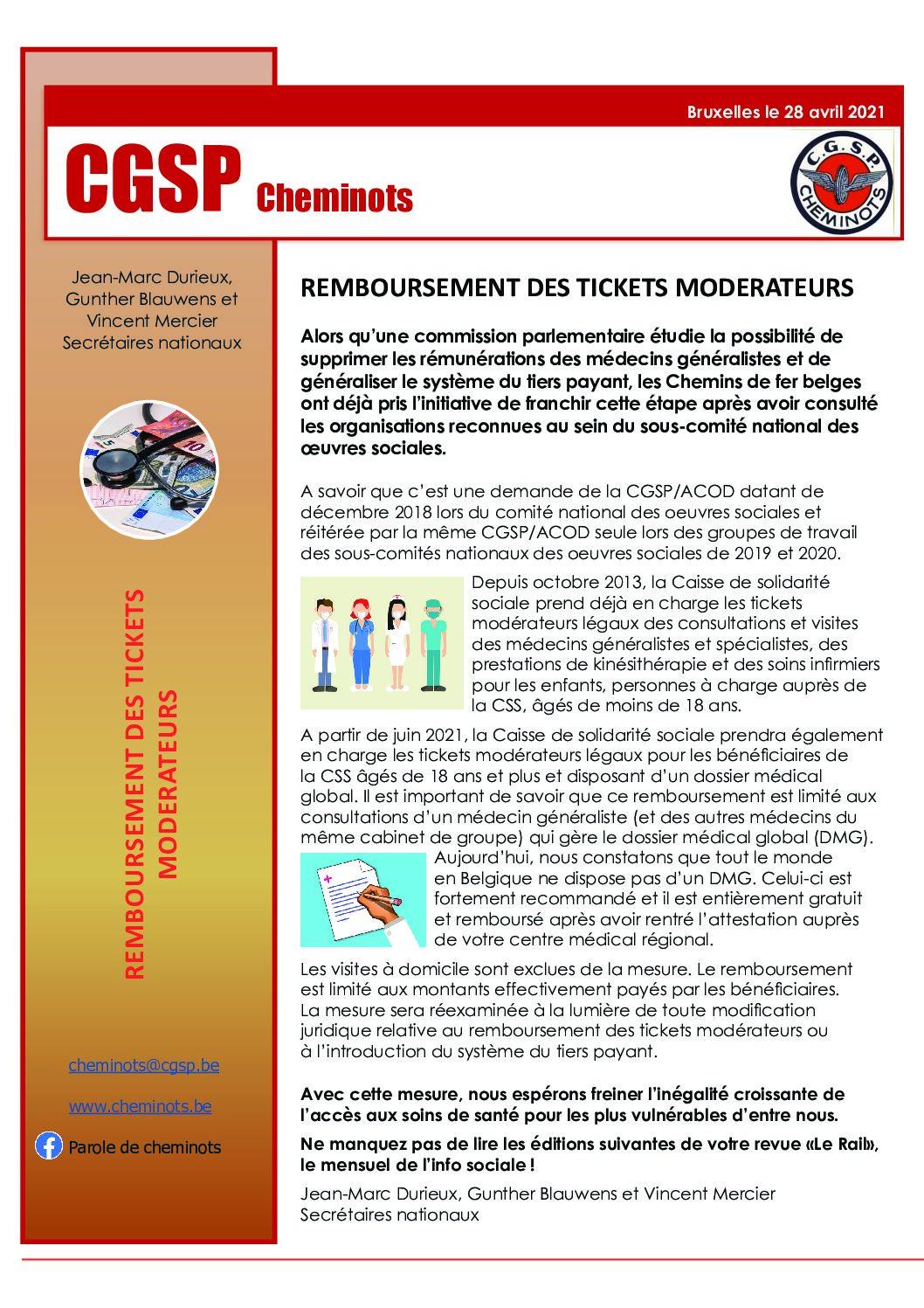 REMBOURSEMENT DES TICKETS MODERATEURS