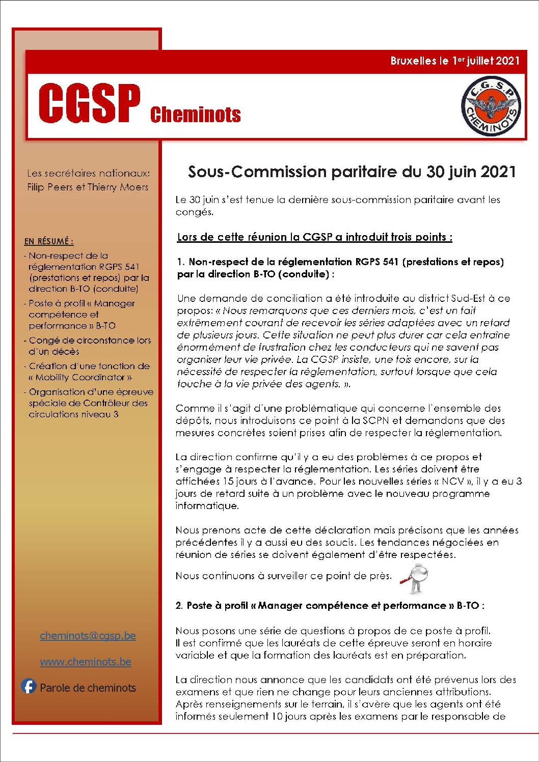 Sous-Commission paritaire du 30 juin 2021