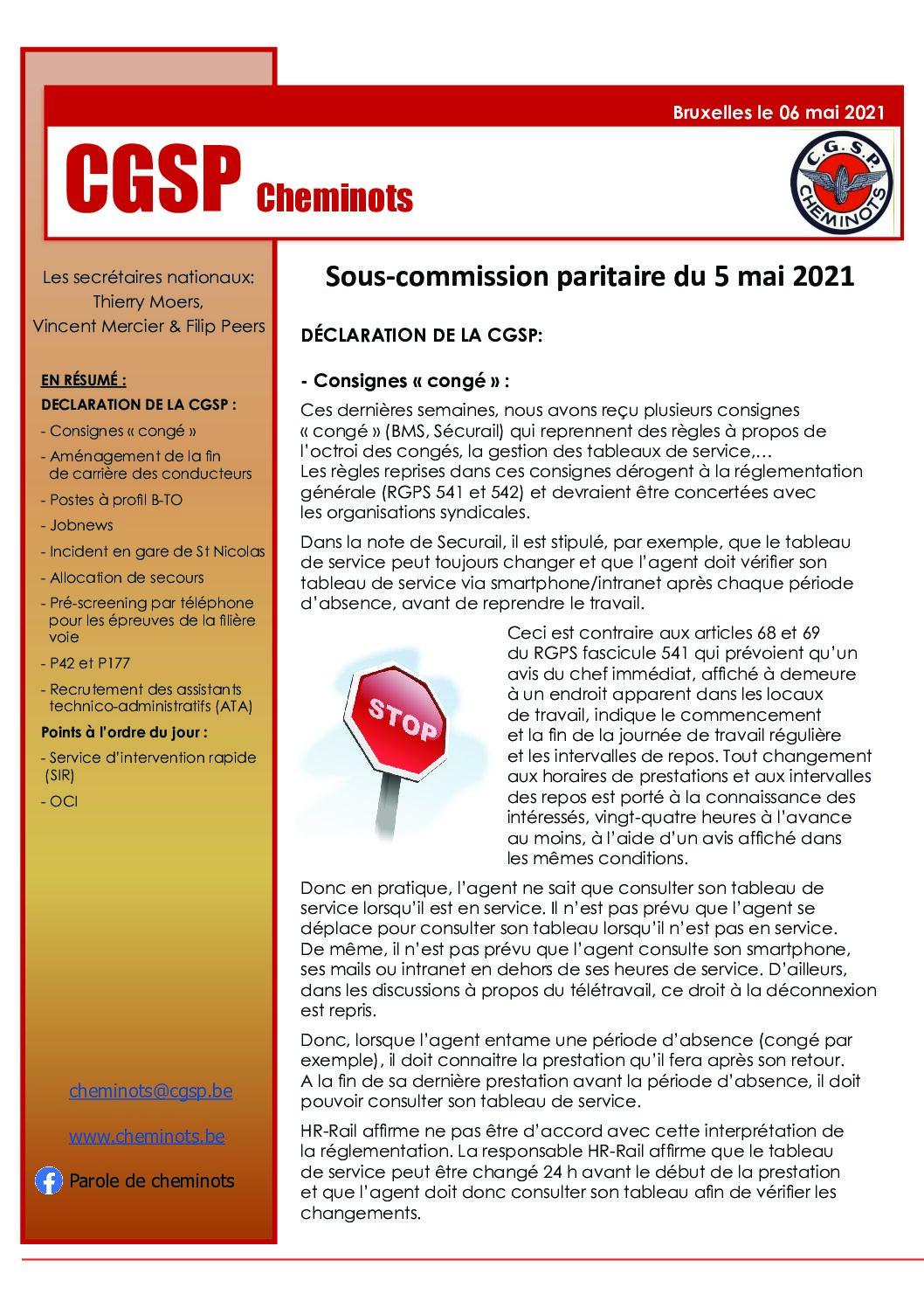 Sous-Commission paritaire du 05 mai 2021