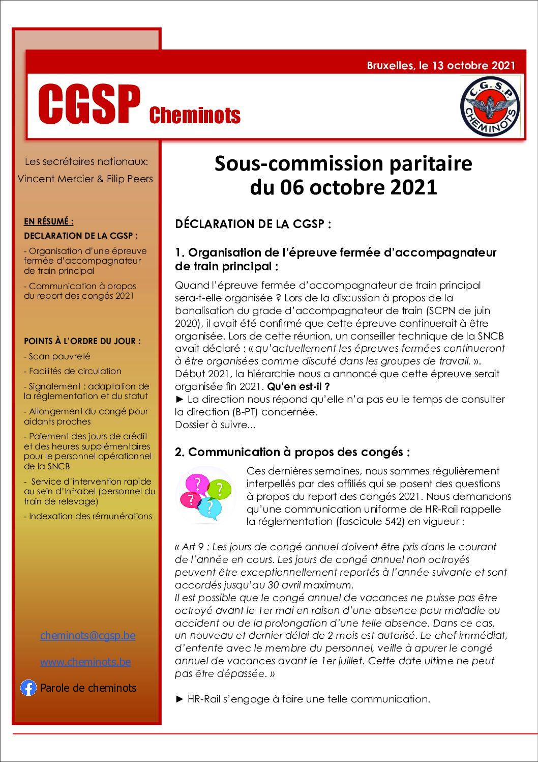 Sous-Commission paritaire du 06 octobre 2021