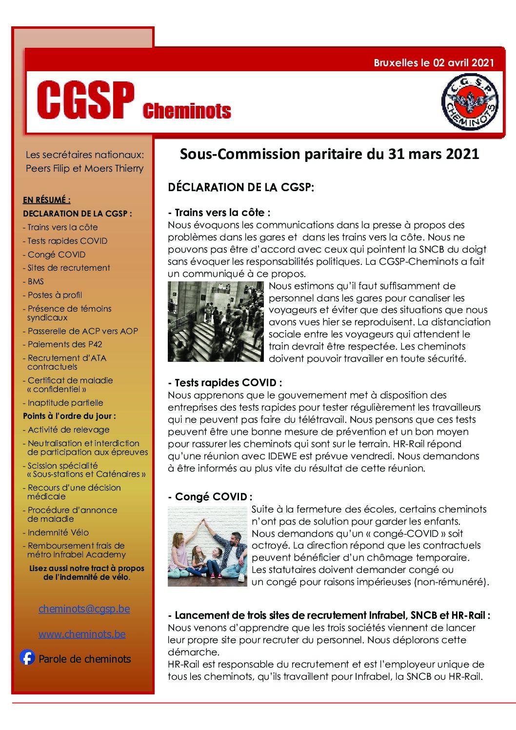 Sous-Commission paritaire du 31 mars 2021