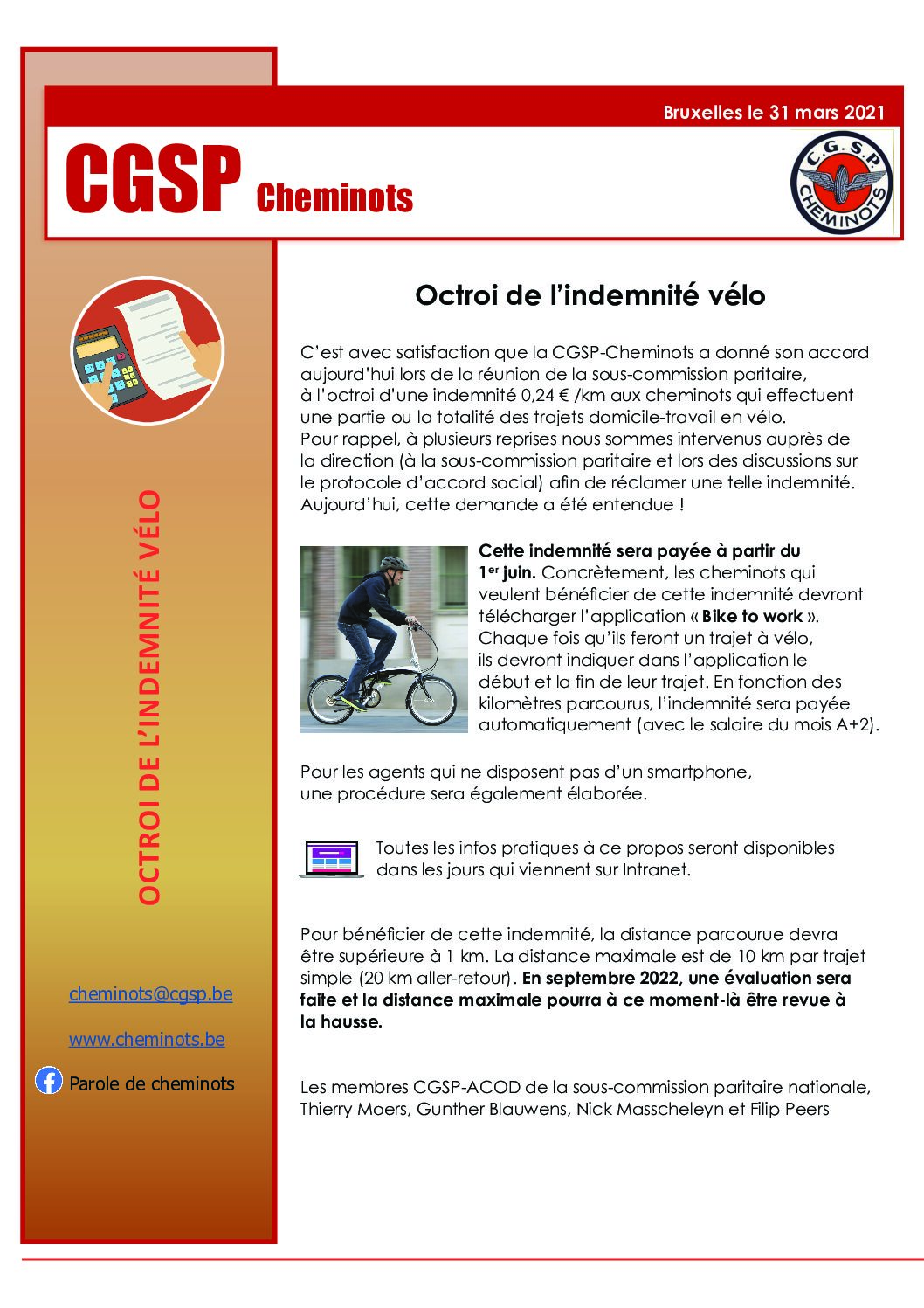 Tract « Indemnité vélo » 31 mars 2021